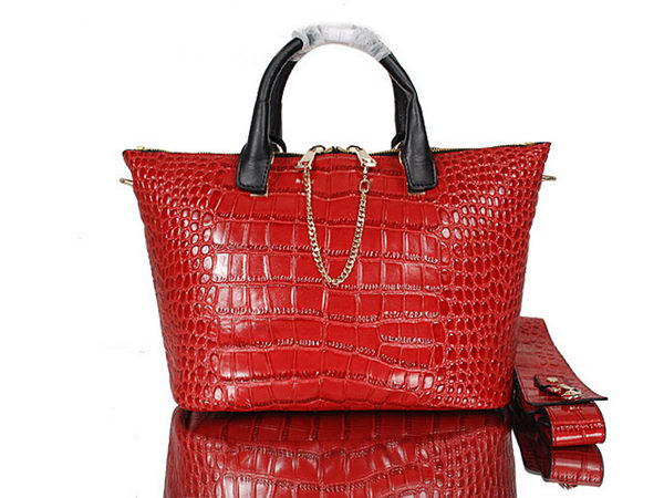 Chloe Baylee Small Croco Leather Tote Bag C0168 Red