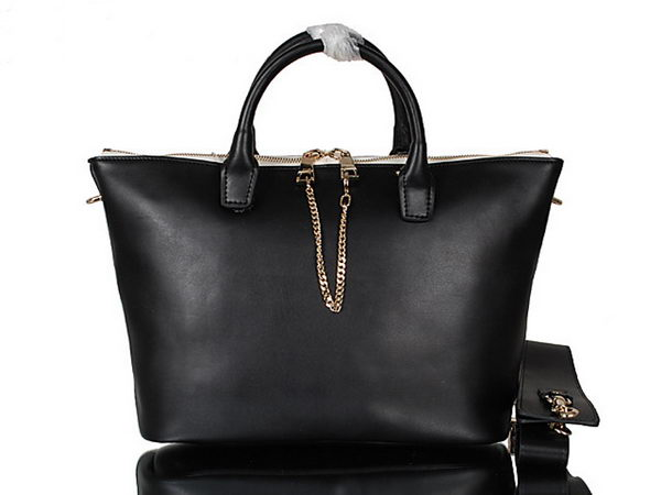 Chloe Baylee Small Leather Tote Bag C0168 Black&White