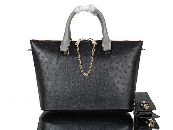 Chloe Baylee Small Ostrich Leather Tote Bag C0168 Black