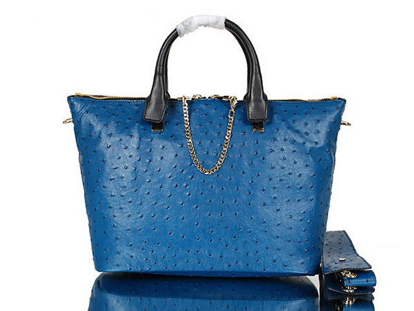 Chloe Baylee Small Ostrich Leather Tote Bag C0168 Blue