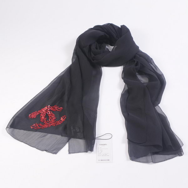 Chonel Scarves Mulberry Silk WJCH019 Black