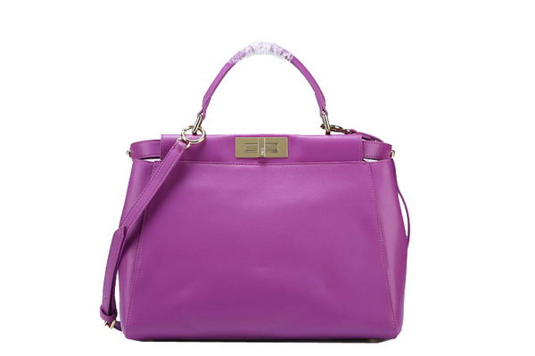 Fendi Icoic Peekaboo Bag Original Smooth Leather F5500 Purple
