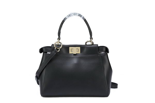 Fendi Icoic mini Peekaboo Bag Original Smooth Leather F5501 Black