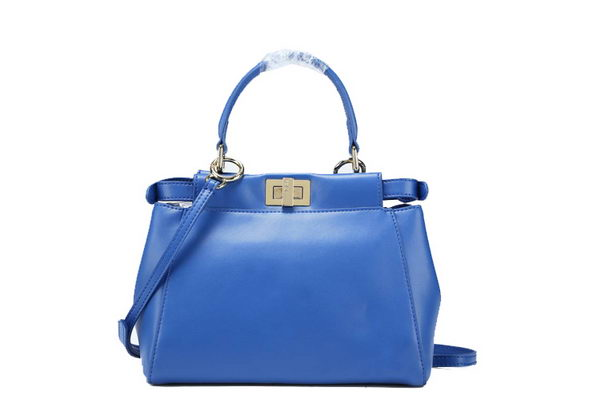 Fendi Icoic mini Peekaboo Bag Original Smooth Leather F5501 Blue