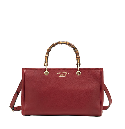 Gucci Bamboo Shopper Calf Leather Tote Bag 323660 Red