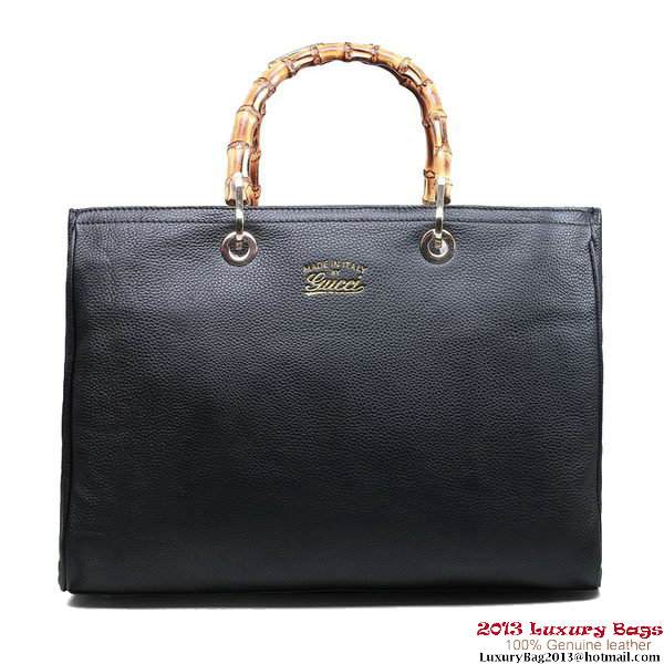 Gucci Bamboo Shopper Leather Tote Bag 323658 Black