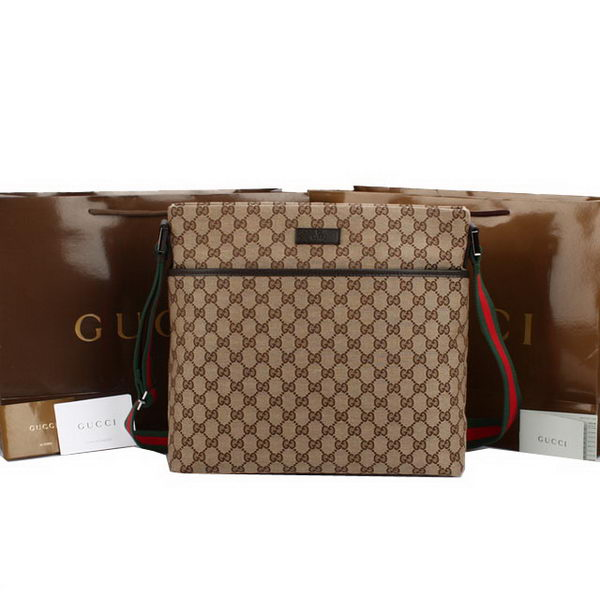 Gucci GG Canvas Medium Messenger Bag 189751 Brown