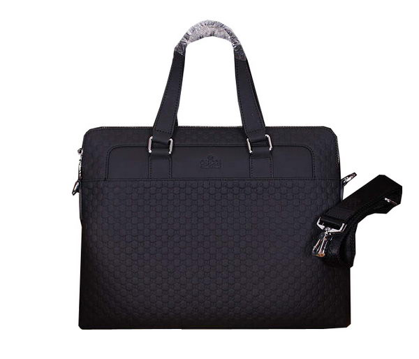 Gucci Guccissima Leather Business Briefcase 20631 Black