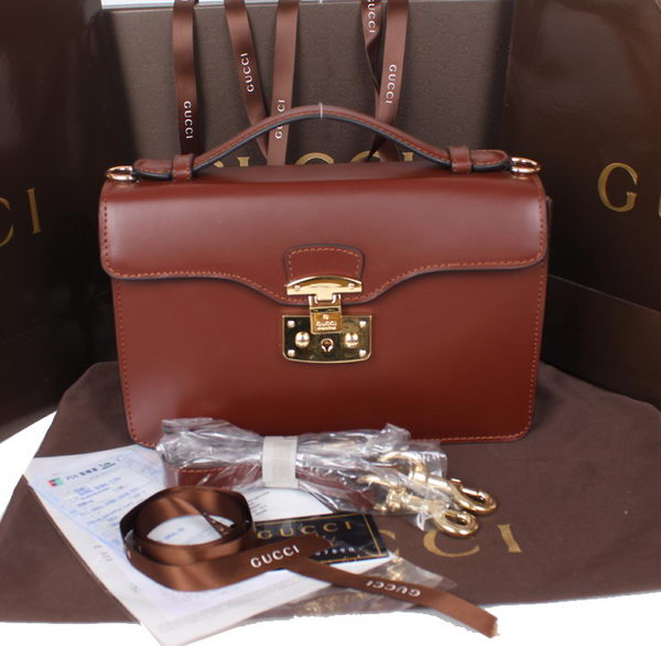 Gucci Lady Lock Calf Leather Briefcase Clutch 331823 Brown