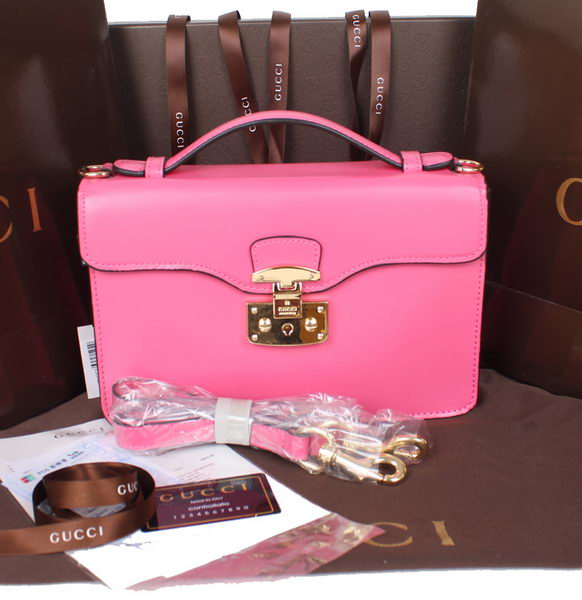 Gucci Lady Lock Calf Leather Briefcase Clutch 331823 Pink