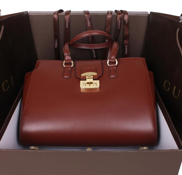 Gucci Lady Lock Calf Leather Tote Bag 331821 Brown