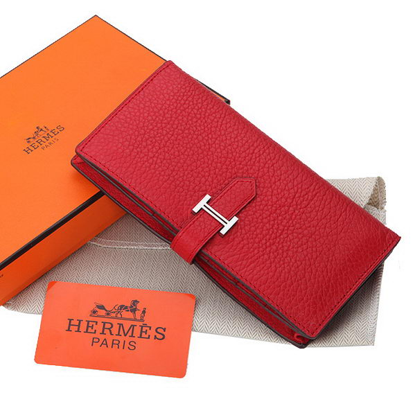 Hermes Bearn Japonaise Bi-Fold Wallet Grainy Leather A208 Red