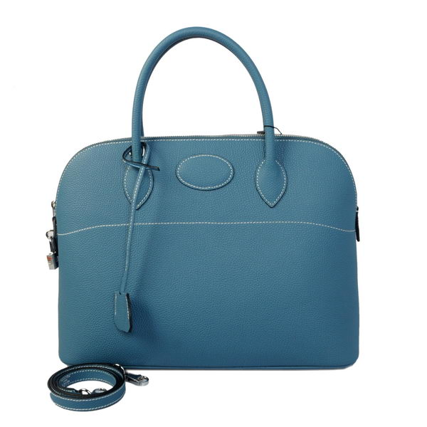 Hermes Bolide 37CM Tote Bags Calf Leather Blue