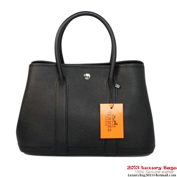 Hermes Garden Party 30CM Bag Calf Leather A1288 Black