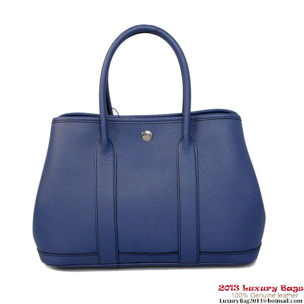 Hermes Garden Party 30CM Bag Calf Leather A1288 Blue