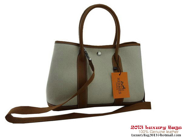 Hermes Garden Party 30CM Bag Fabric Light Brown