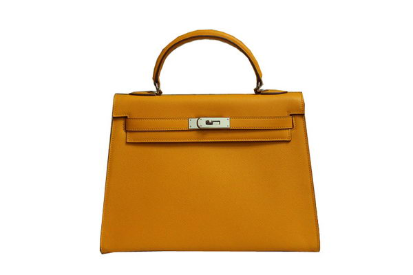 Hermes Kelly 32cm Shoulder Bag Yellow Saffiano Leather K32 Silver