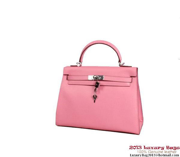 Hermes Kelly 32cm Top Handle Bag Pink Togo Leather Silver
