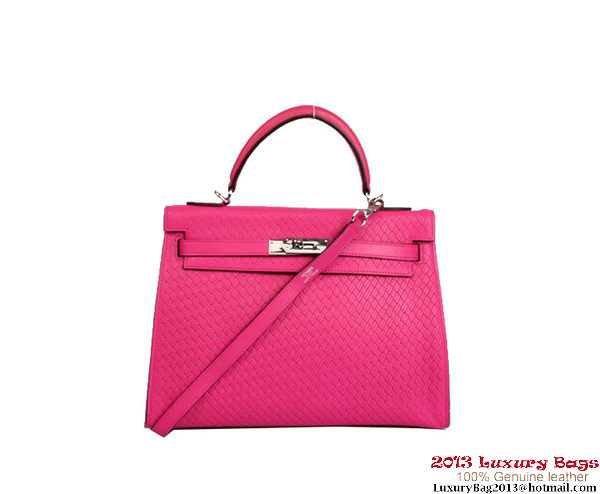 Hermes Kelly 32cm Top Handle Bag Rosy Woven Leather Silver