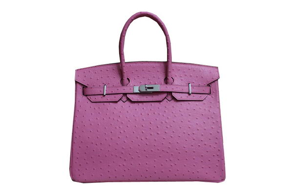 Hermes Kelly 35cm Top Handle Bag Pink Ostrich Leather Silver