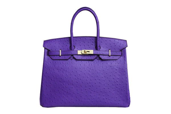 Hermes Kelly 35cm Top Handle Bag Purple Ostrich Leather Gold