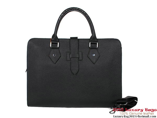 Hermes Mens Briefcase Calf Leather 3308 Black