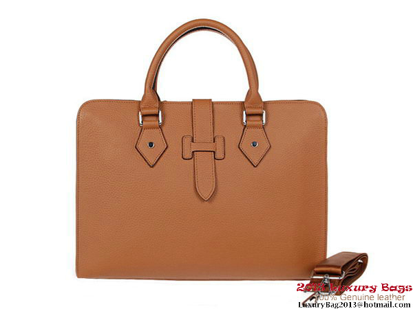 Hermes Mens Briefcase Calf Leather 3308 Camel