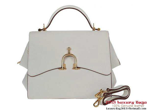Hermes Stirrup Mini Top Handle Bag H-509118 OffWhite