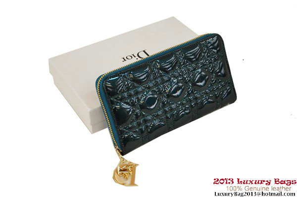 Lady Dior Escapade Wallet Patent Leahter D0082 Dark Green