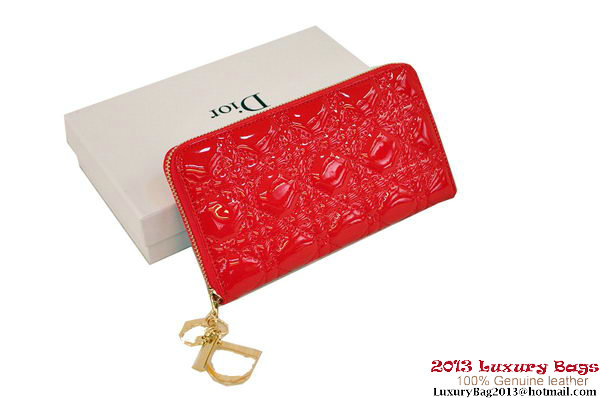 Lady Dior Escapade Wallet Patent Leahter D0082 Red