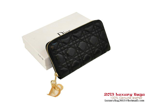 Lady Dior Escapade Wallet Sheepskin Leahter D0082 Black
