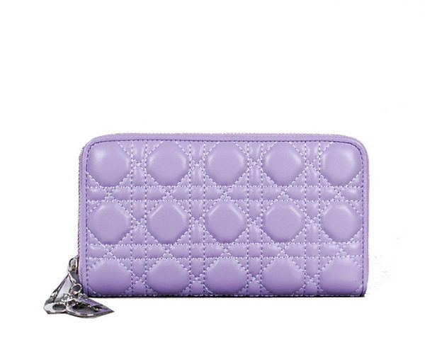 Lady Dior Escapade Wallet Sheepskin Leahter D0082 Purple