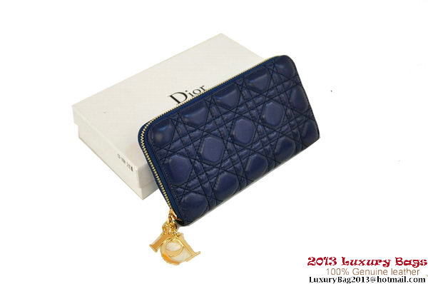 Lady Dior Escapade Wallet Sheepskin Leahter D0082 RoyalBlue