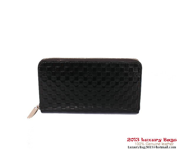 Louis Vuitton Monogram Vernis Zippy Wallet M94442 Black