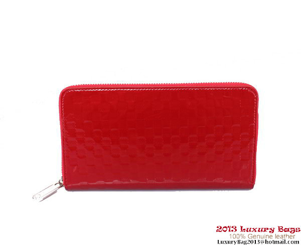 Louis Vuitton Monogram Vernis Zippy Wallet M94442 Red