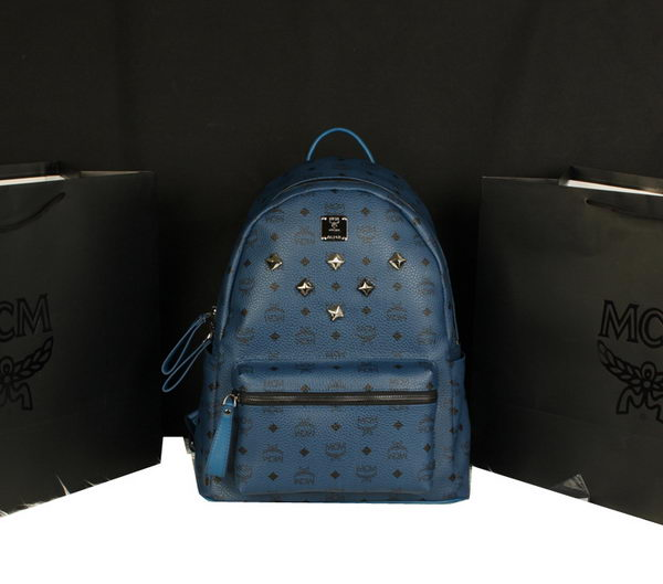 MCM Stark Backpack Jumbo in Calf Leather 8006 RoyalBlue