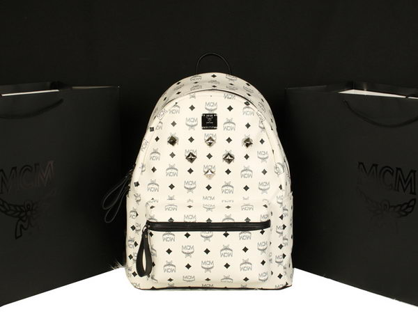MCM Stark Backpack Jumbo in Calf Leather 8006 White