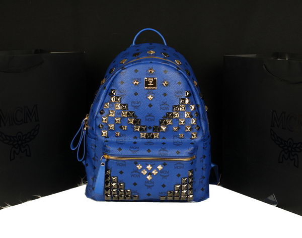 MCM Stark Backpack Jumbo in Calf Leather 8100 Blue