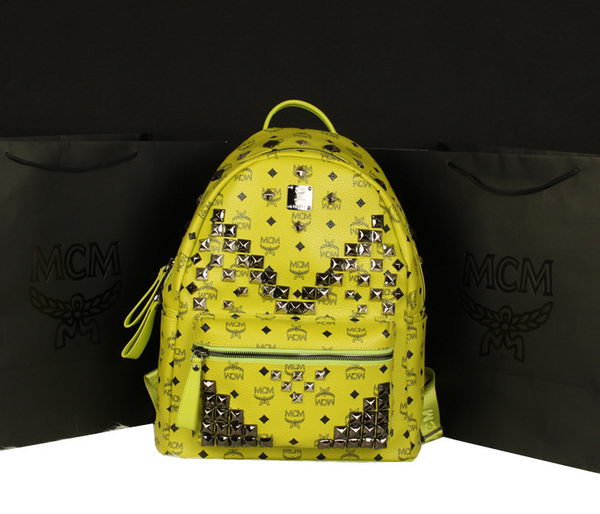 MCM Stark Backpack Jumbo in Calf Leather 8100 Lemon