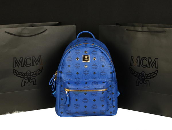MCM Stark Backpack Large in Calf Leather 8004 Blue