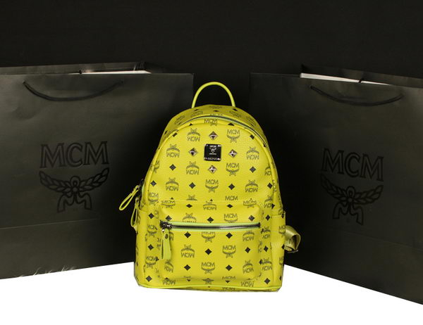 MCM Stark Backpack Large in Calf Leather 8004 Lemon