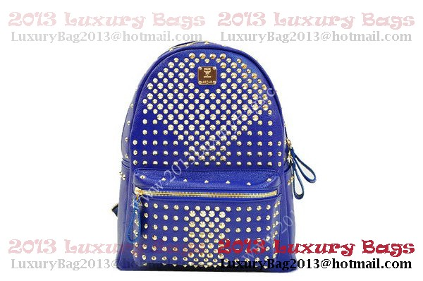 MCM Stark Backpack in RoyalBlue Grainy Leather