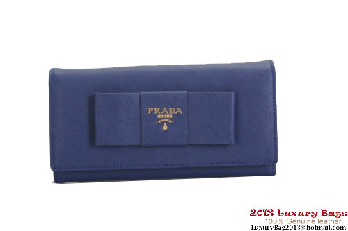 Prada Saffiano Leather Wallet with Leather Bow 1M1132 Blue