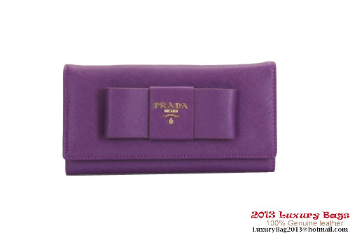 Prada Saffiano Leather Wallet with Leather Bow 1M1132 Purple