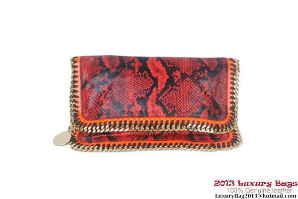 Stella McCartney Falabella Snake Fold Over Clutch 812S Red