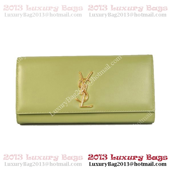 YSL Classic Monogramme Saint Laurent Clutch Bag in Green Leather
