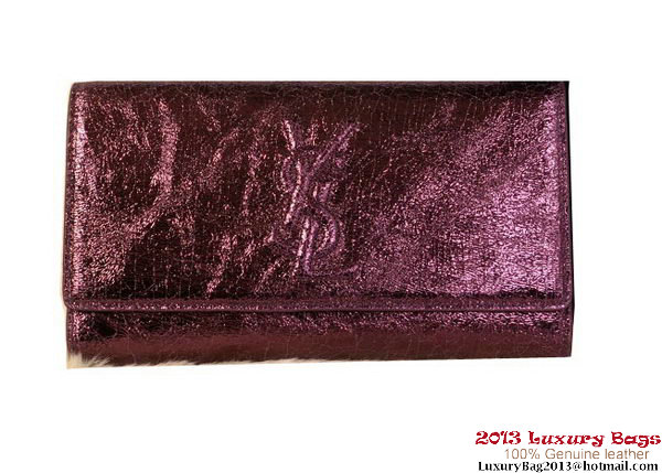 Yves Saint Laurent Belle De Jour Shiny Leather Clutch 6018 Purple