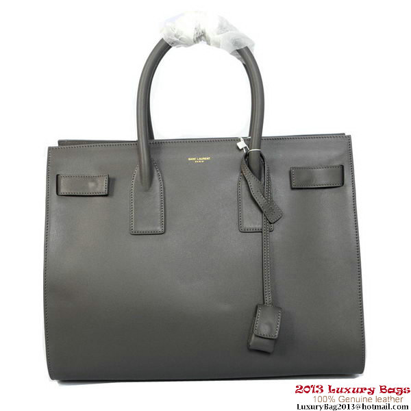 Yves Saint Laurentt Classic Small Sac De Jour Bag in Gray Leather