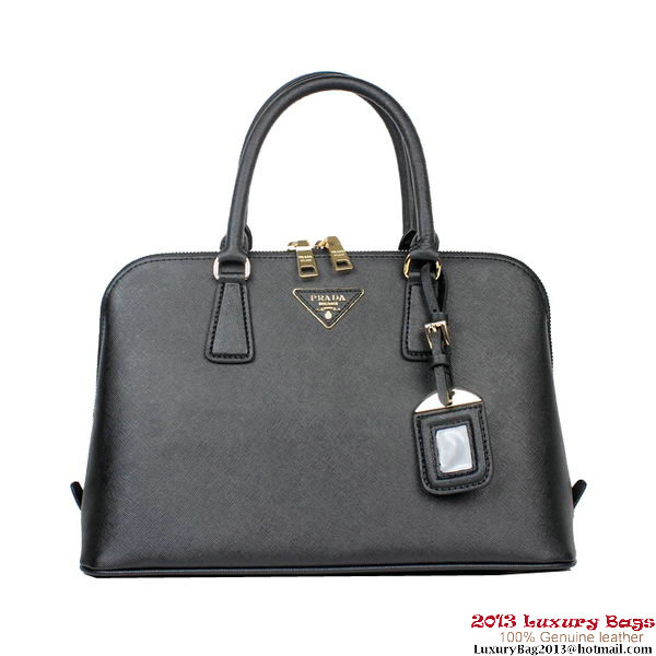 PRADA BL0837 Black Saffiano Leather Top Handle Bag