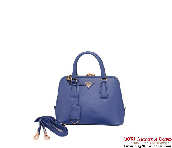 Prada BL0838 Saffiano Leather Tote Bag Blue